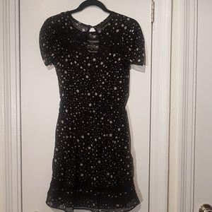 Zara Sheer Black and Cream Star Print Dress